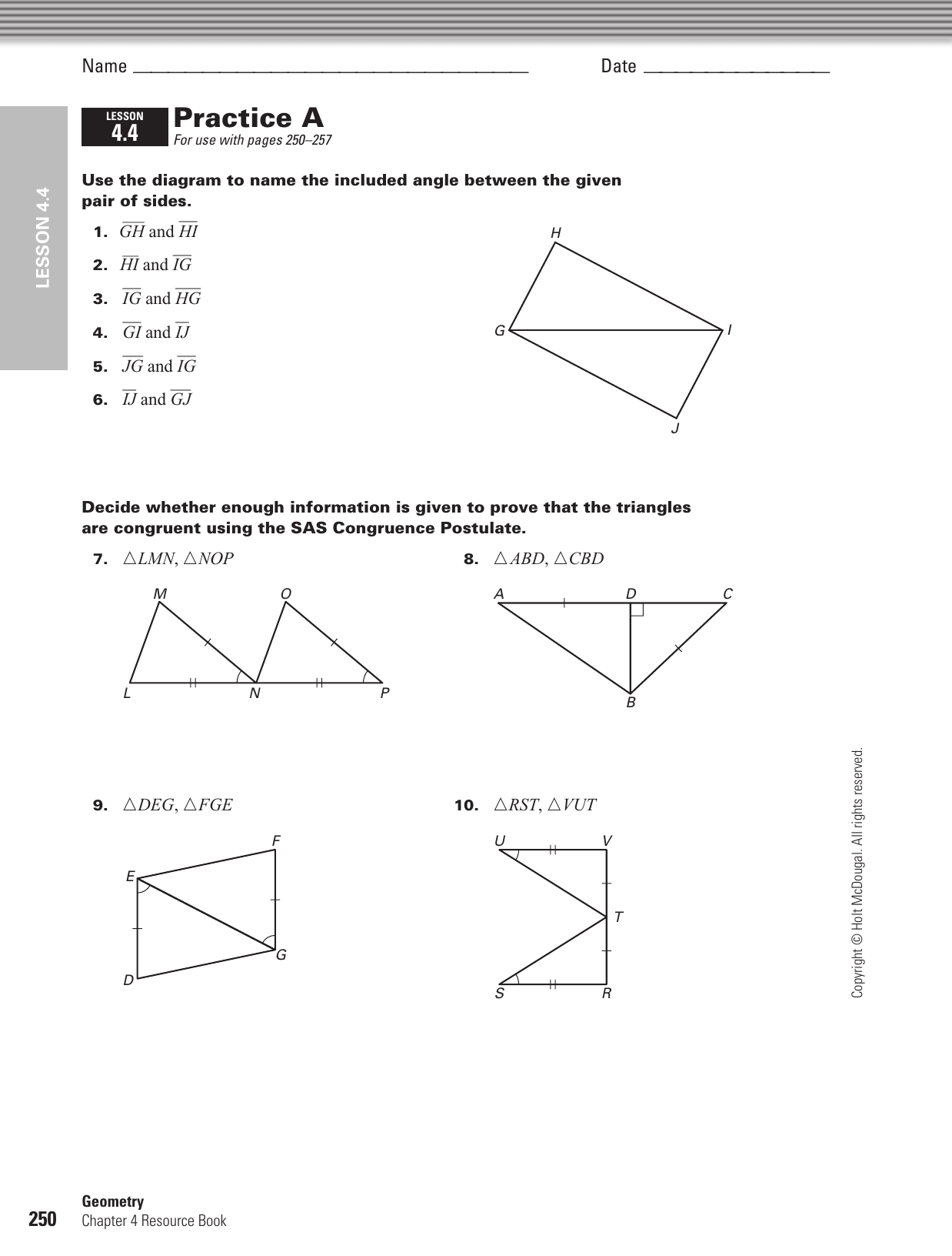 holt geometry review for mastery answers