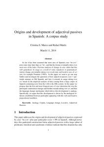 Origins and development of adjectival passives in Spanish: A corpus