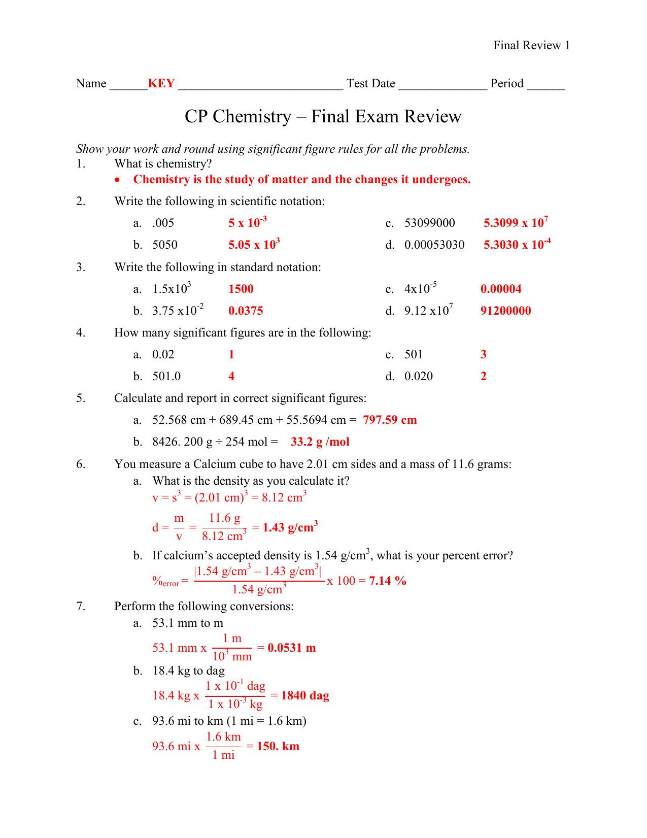 CP Chemistry - Final Exam Review KEY