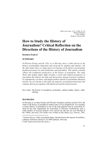 How to Study the History of Journalism? Critical Reflection on the