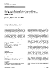Similar biotic factors affect early establishment and abundance of an