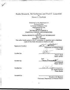 Radio Research, McCarthyism and Paul F