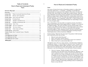 Table of Contents How to Read and Understand Poetry Parti How to