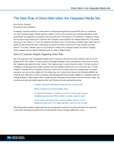The New Role of Direct Mail within the Integrated Media Mix