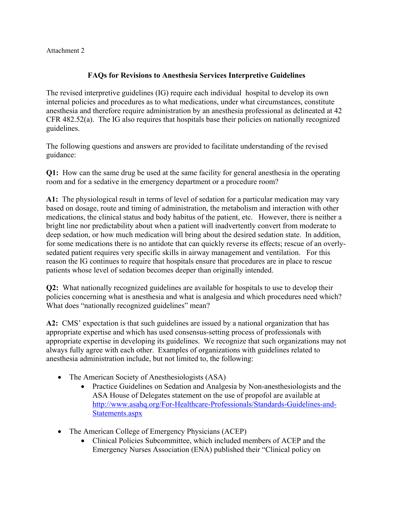 2011 FAQ for CMS Revised Hospital Interpretive Guidelines