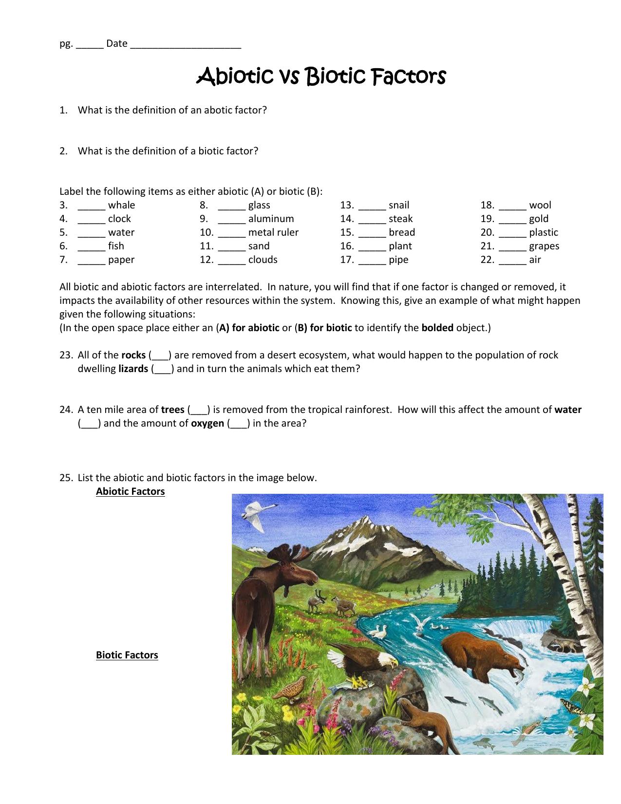 Worksheet 1 Abiotic Versus Biotic Factors