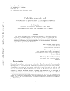 Probability, propensity and probabilities of propensities (and of