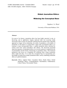 Global Journalism Ethics: Widening the Conceptual Base
