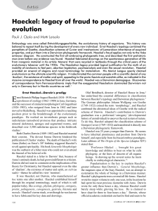 Haeckel: legacy of fraud to popularise evolution