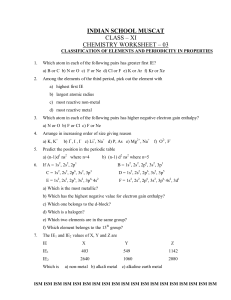 Class XI worksheet - Indian School Muscat