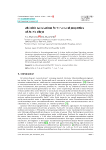 Ab-initio calculations for structural properties of Zr–Nb alloys