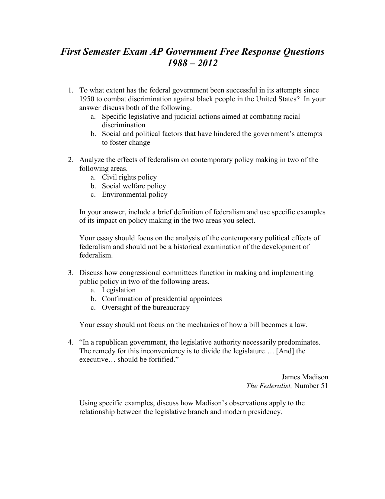 First Semester Exam Ap Government Free Response Questions
