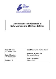 Administration of Medication in Early Learning and Childcare Settings
