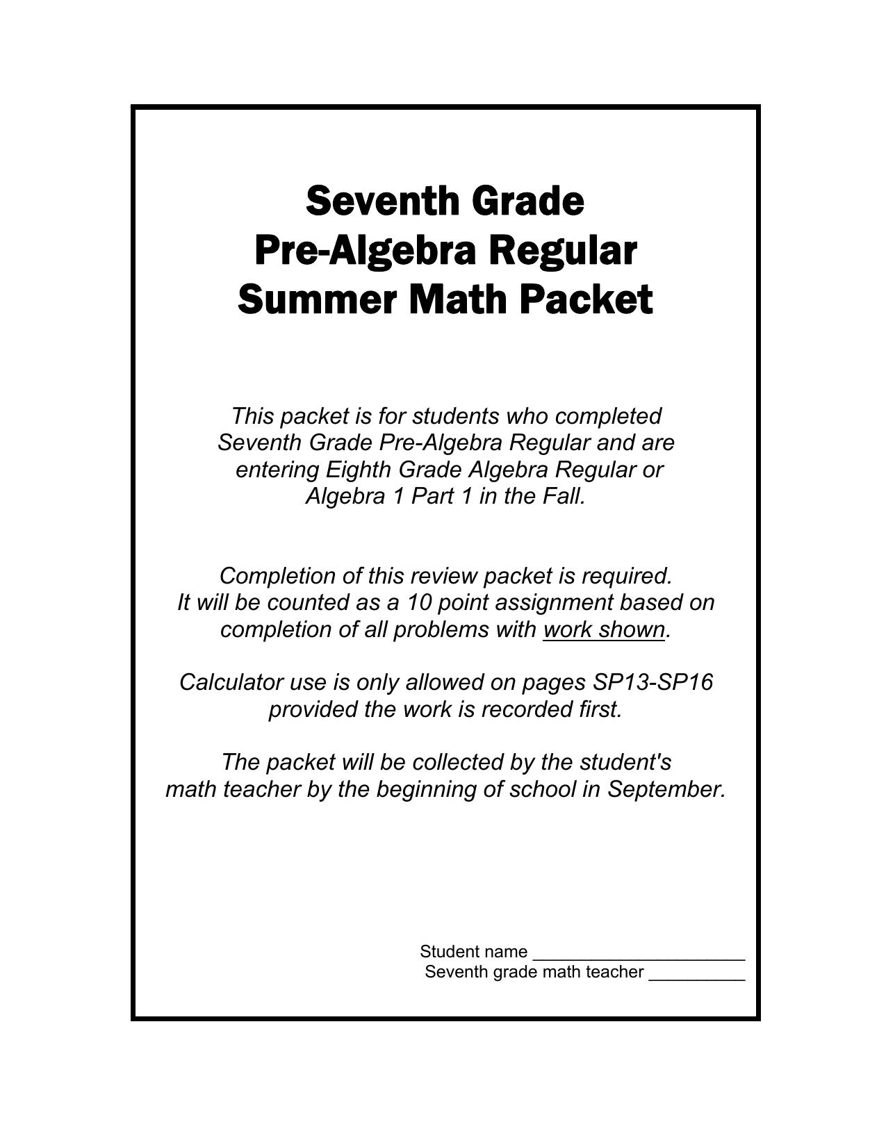 Seventh Grade Pre-Algebra Regular Summer Math Packet