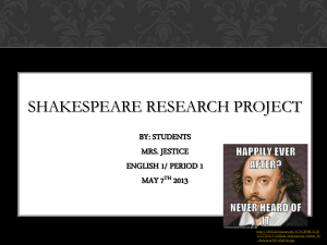 shakespeare research project - Lewis