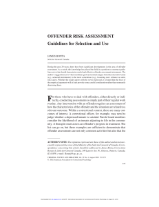 OFFENDER RISK ASSESSMENT Guidelines for - CE