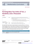 Forming Base Ten Units of Ten, a Hundred, and a