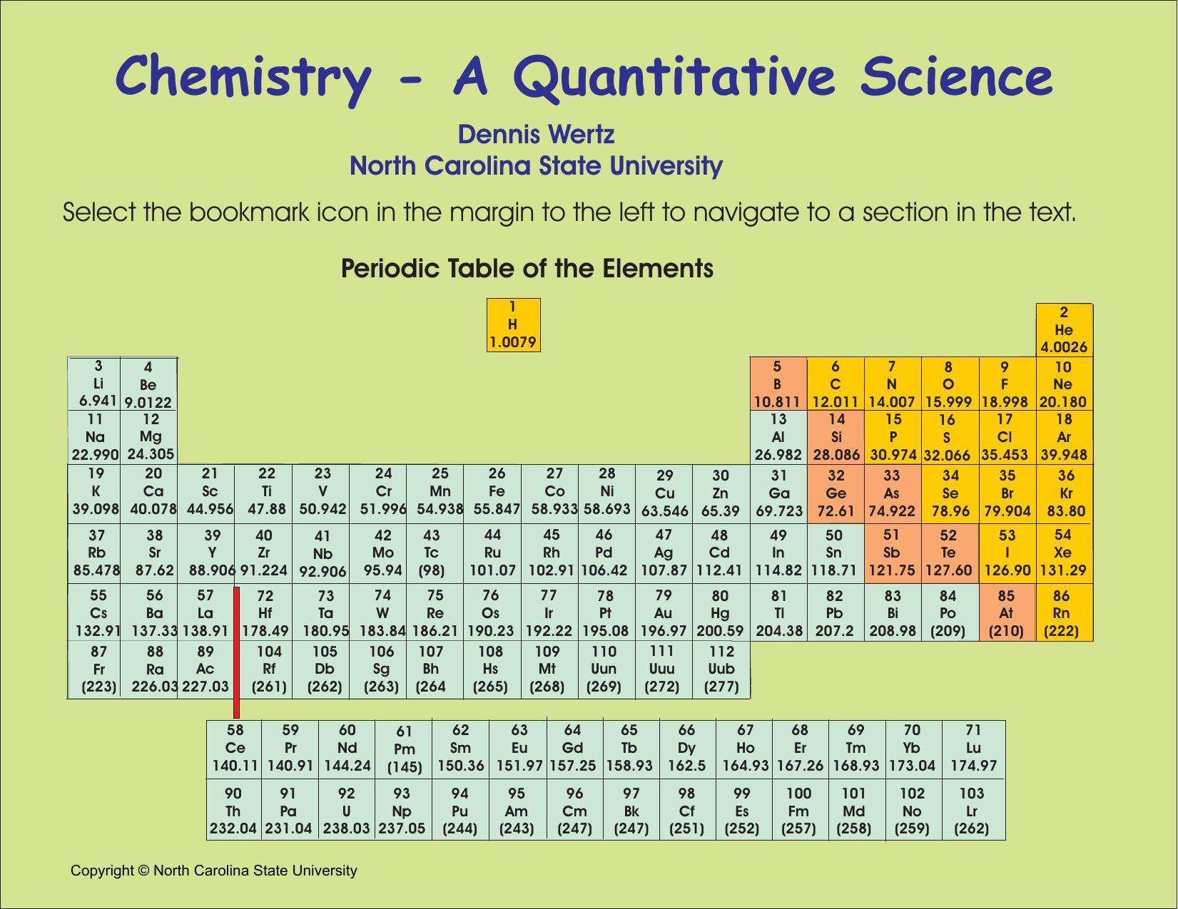 Chemistry - A Quantitative Science