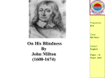 On His Blindness By John Milton (1608