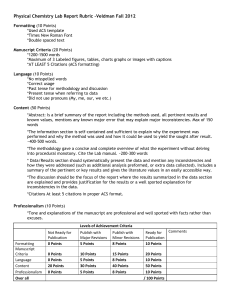 Physical Chemistry Lab Report Rubric –Veldman Fall 2012