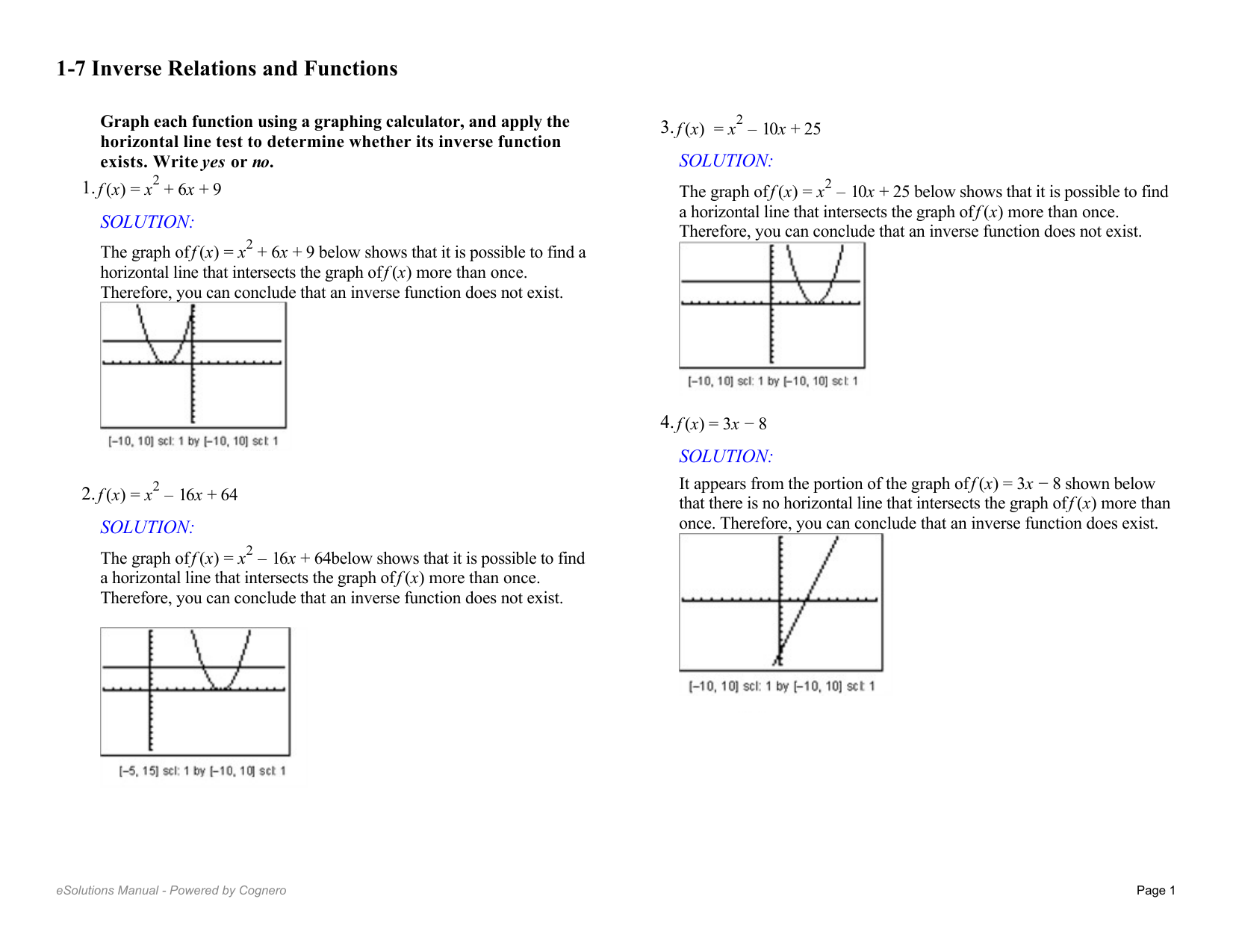1-7 Inverse Relations and Functions