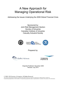 A New Approach for Managing Operational Risk: Addressing the