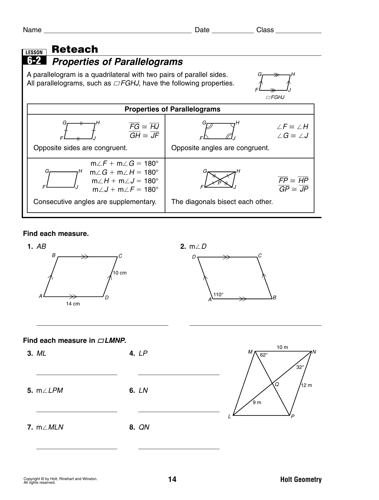 problem solving lesson 6-2 properties of parallelograms