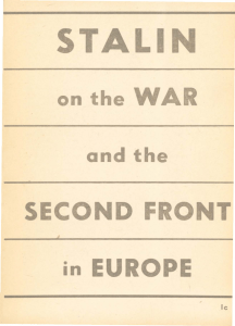 On the War and the Second Front in Europe