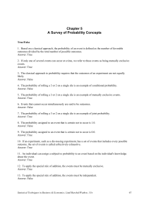 Chapter 5 A Survey of Probability Concepts