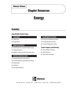 Chapter 6 Resource: Energy