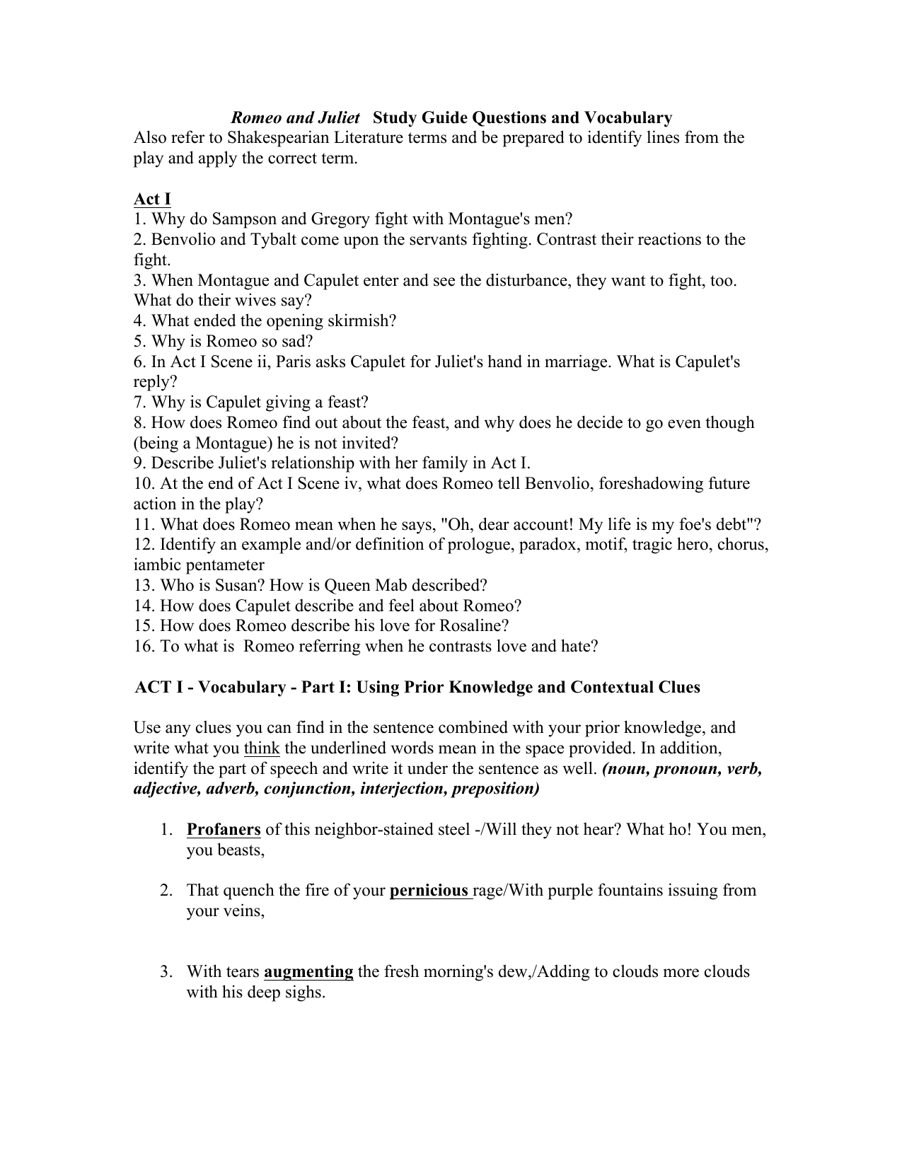 Romeo and Juliet Study Guide Questions and Vocabulary Also refer