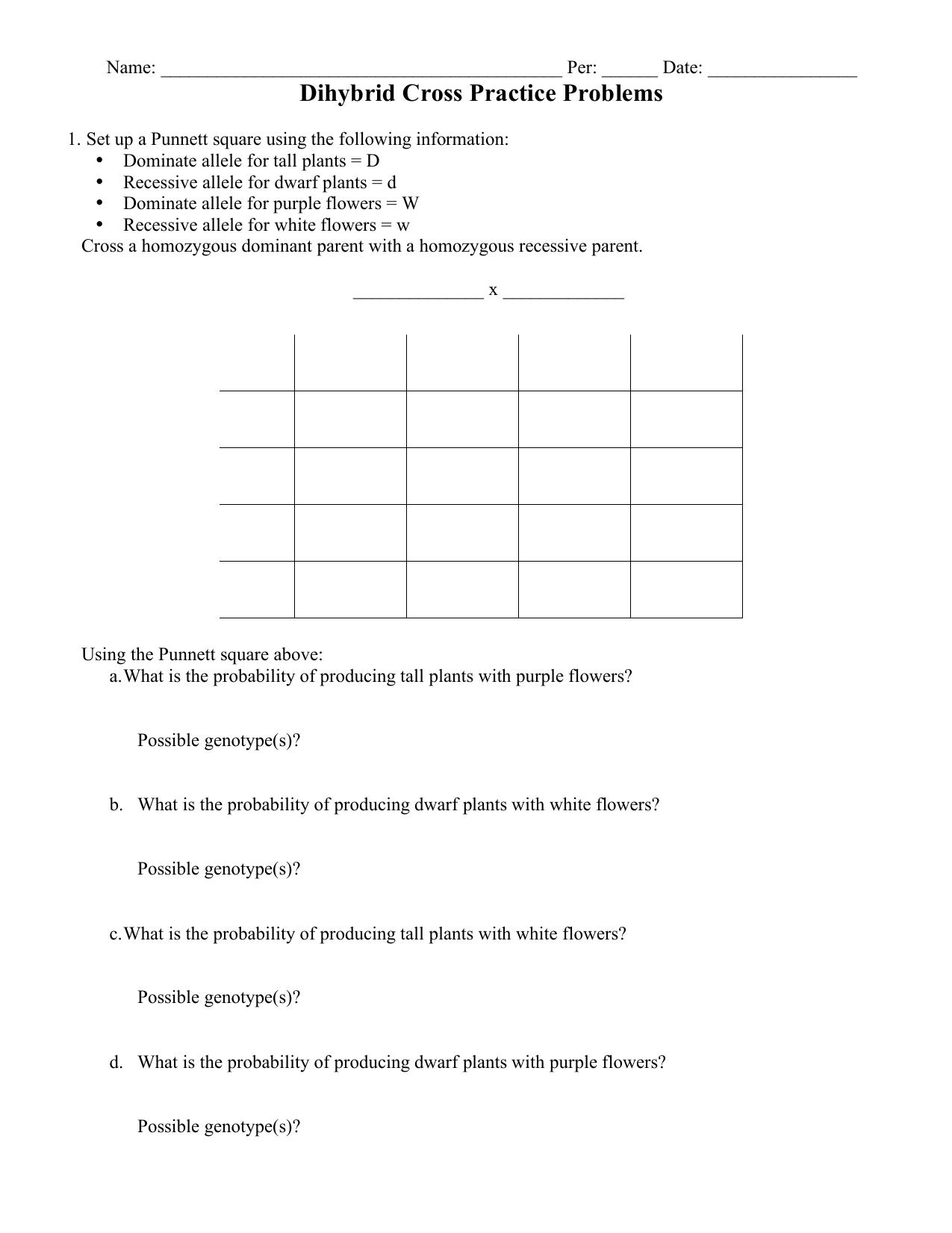 Dihybrid Cross Practice Problems