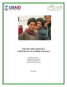 YOUTH AND CONFLICT A Brief Review of Available Literature