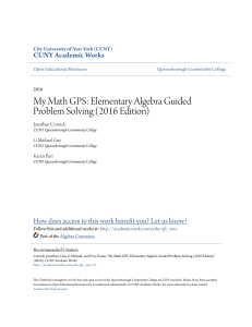 My Math GPS: Elementary Algebra Guided Problem Solving