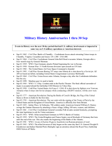 Military History Anniversaries 1 thru 30 Sep