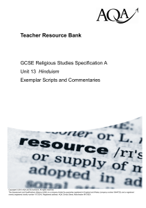 GCSE Religious Studies (specification A) Exemplar scripts