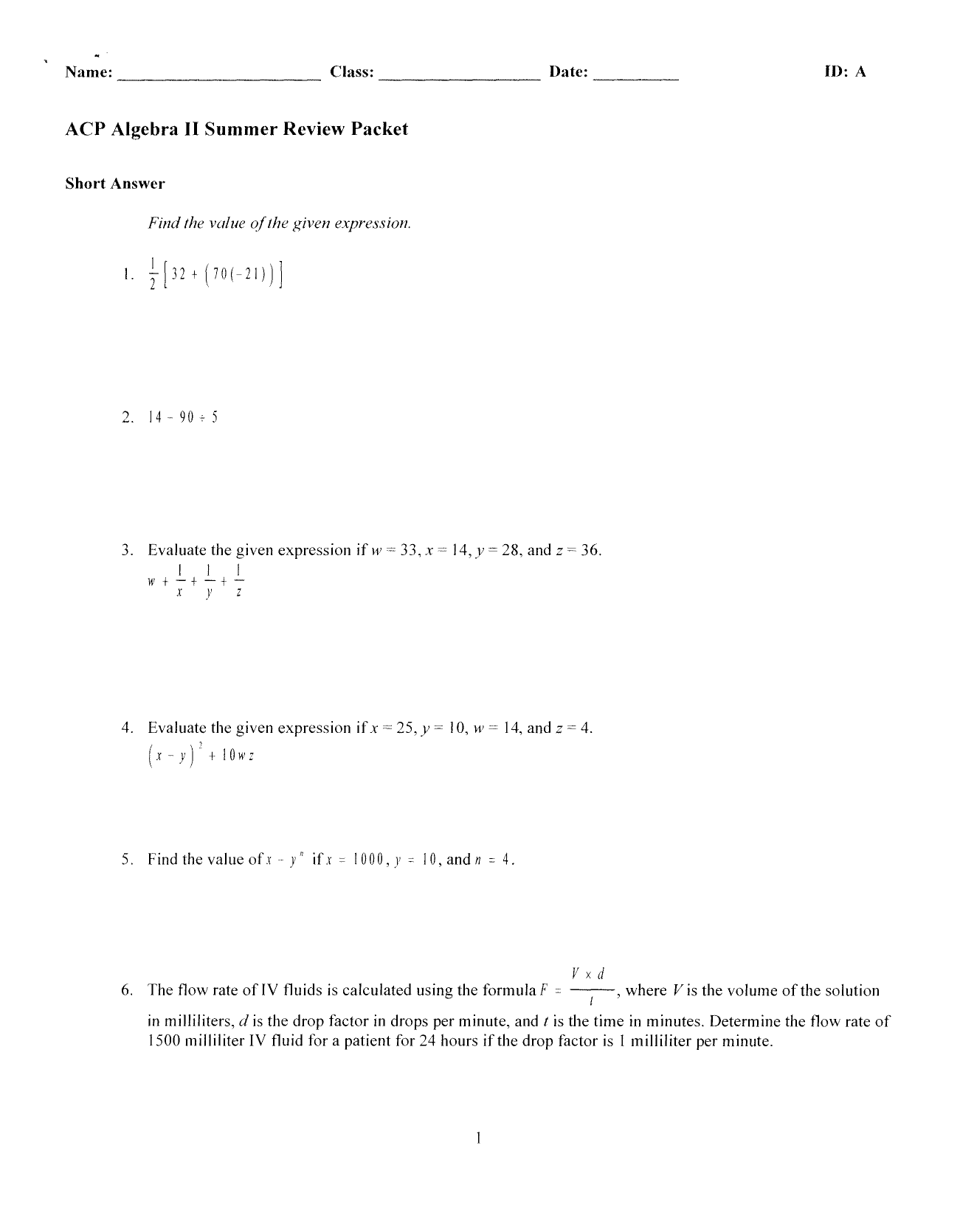 ACP Algebra II Summer Review Packet