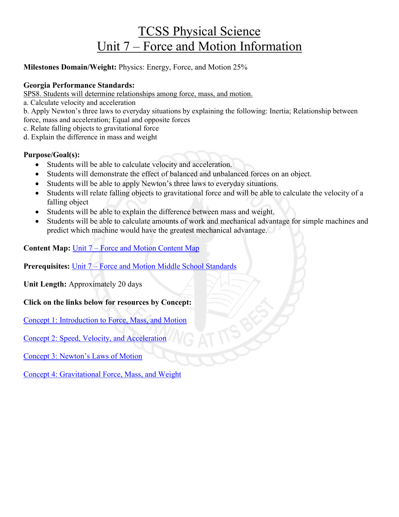 Tcss Physical Science Unit 7 Force And Motion Information