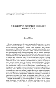 THE GROUP IN PLURALIST IDEOLOGY AND POLITICS