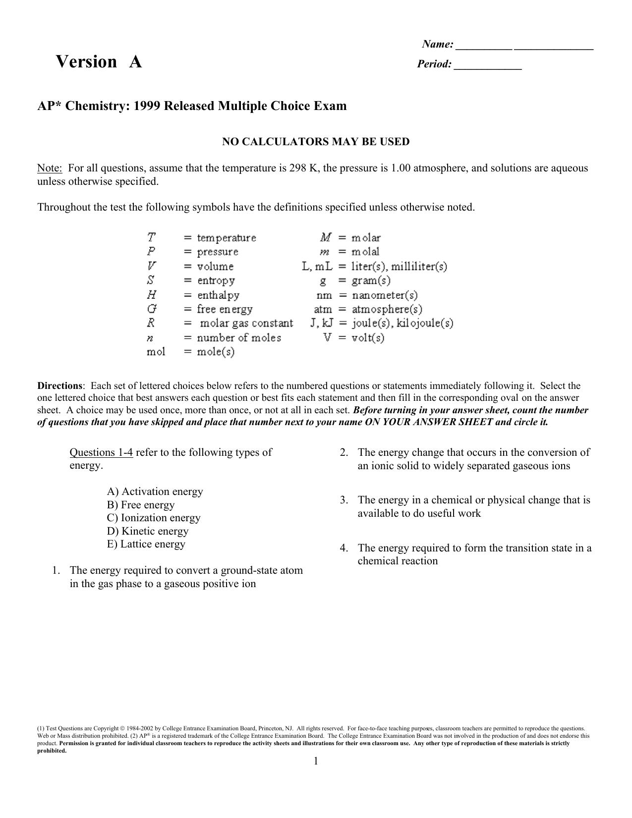 Examview 1999 Ap Chemistry Exam Tst