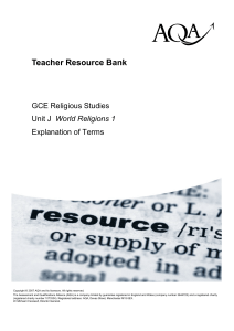 A-level Religious Studies Teacher guidance Explanation of terms