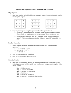Algebra and Representation – Sample Exam Problems