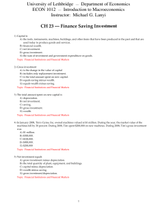 CH 23 Finance Saving Investment