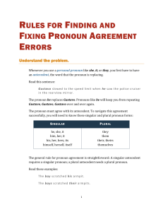 Rules for Fixing Pronoun Agreement Errors