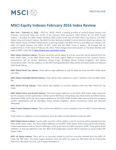 MSCI Equity Indexes February 2016 Index Review