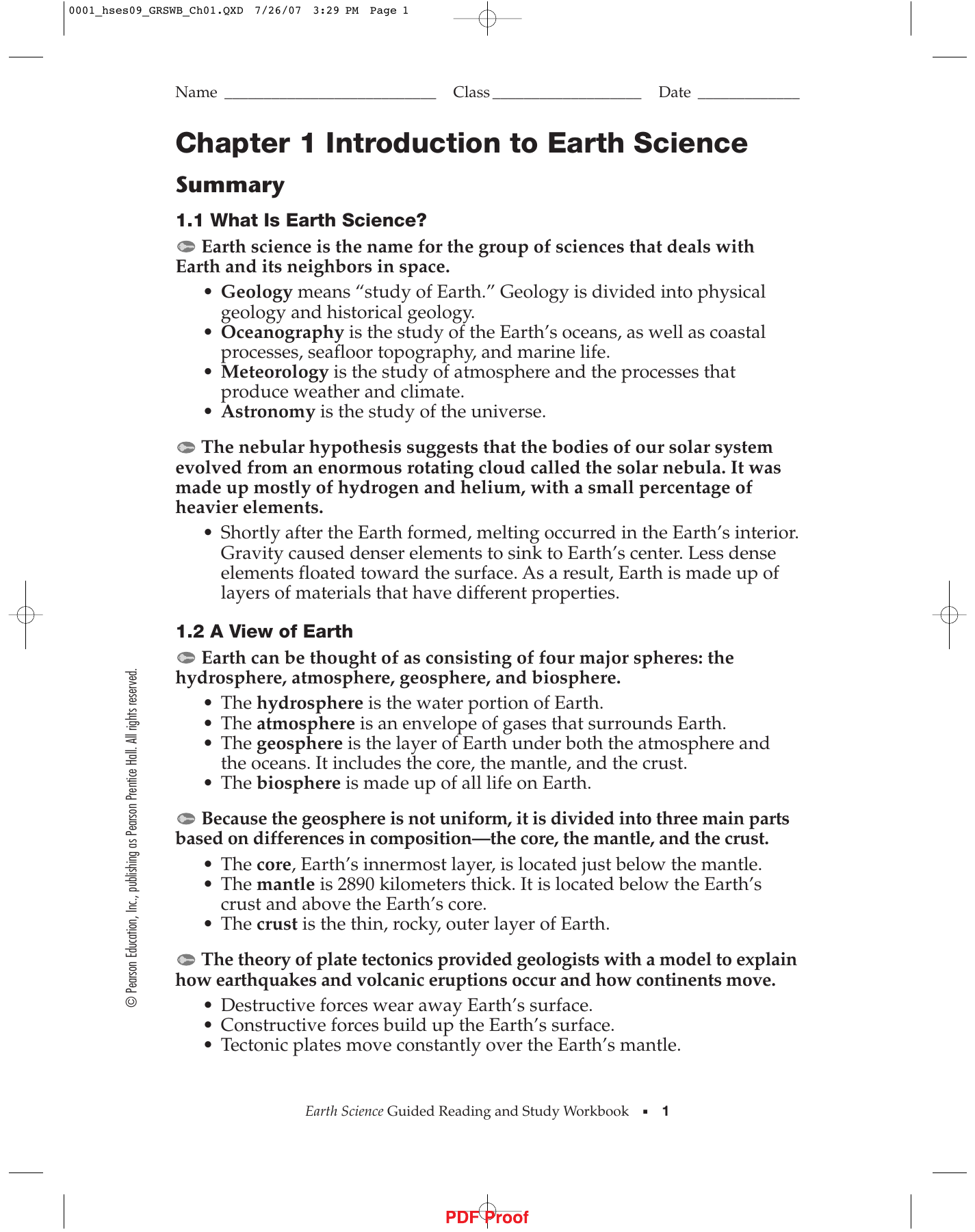 Pearson Education Earth Science Answer Key - The Earth ...