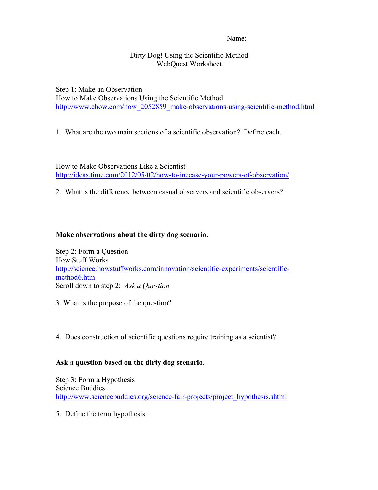 Dirty Dog Using the Scientific Method WebQuest Worksheet Step 1 – Scientific Method Scenarios Worksheet