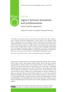 Agency between humanism and posthumanism