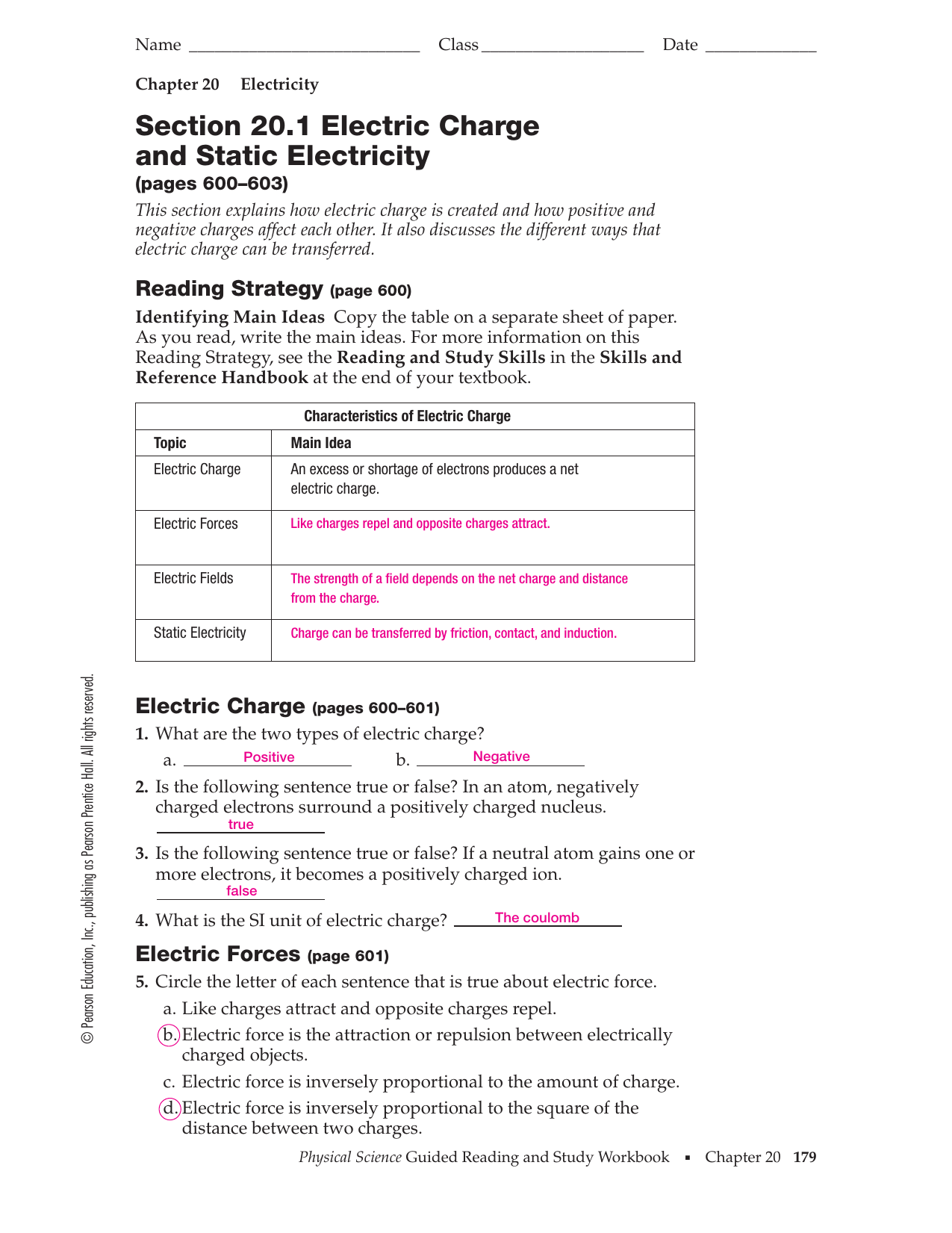 Section 20 1 Electric Charge and Static Electricity