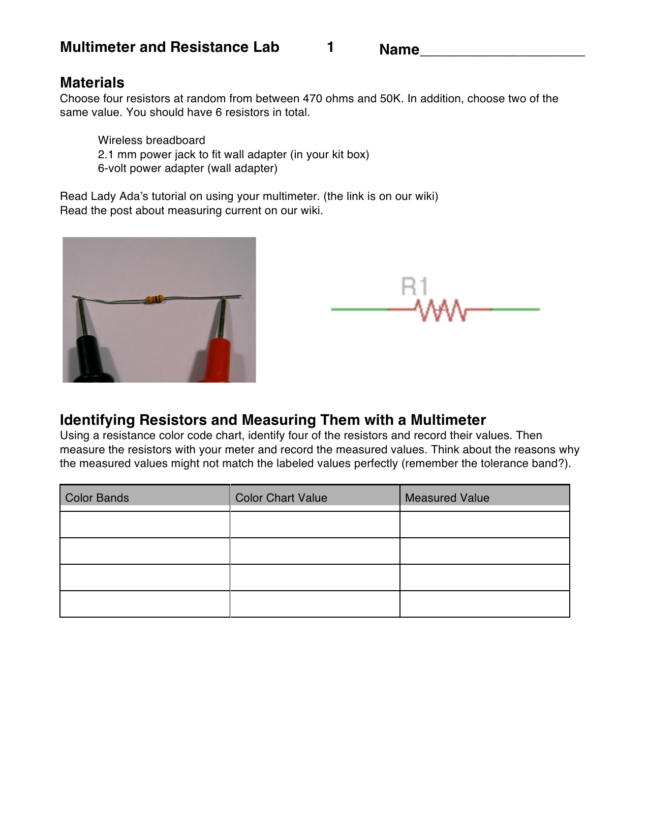 Multimeter and resistance lab 1 materials identifying resistors and nvjuhfo Images